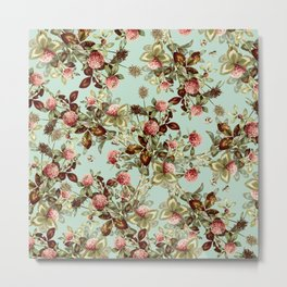 Vintage shabby green pink coral floral pattern Metal Print