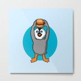 Baby penguin Holding a Hamburger Metal Print