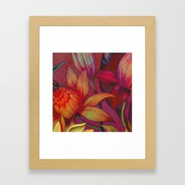 """Retro Giant Floral Pattern"" Framed Art Print"