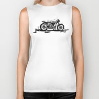cafe racer Biker Tanks featuring Beer Savage Vintage Norton Cafe Racer by TCORNELIUS