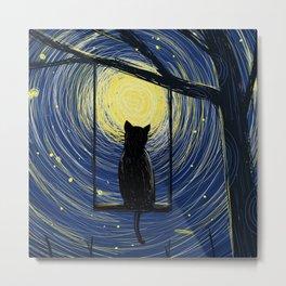 Moonlight Cat Metal Print