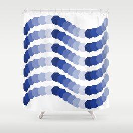 Monochromatic Blue Heptagon Waves Shower Curtain