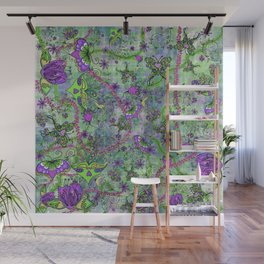 Pretty Retro Forest Creatures Wall Mural