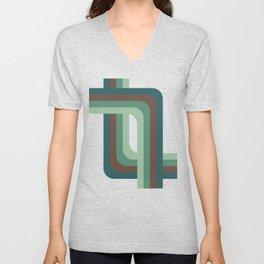 Abstract Retro Stripes Unisex V-Neck