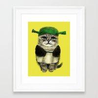 shrek Framed Art Prints featuring Shreky Cat by Anna Shell