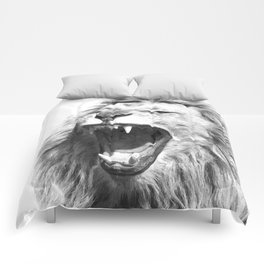 Black White Fierce Lion Comforters