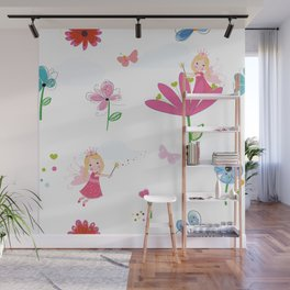 Summer Flowers, Butterflies and Fairy Pattern Wallpaper Wall Mural