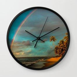 Rainbow Palm Tree Rincon Puerto Rico Wall Clock