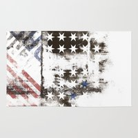 flag Area & Throw Rugs featuring FLAG by TOO MANY GRAPHIX