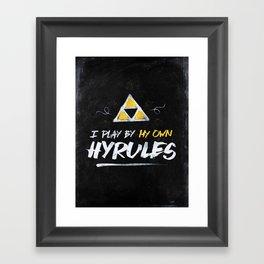 Legend of Zelda Inspired Type I Play by My Own Hyrules Framed Art Print