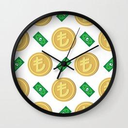 Turkish Lira pattern background. Wall Clock