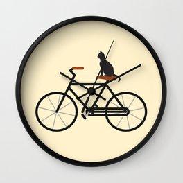 Cat Riding Bike Wall Clock