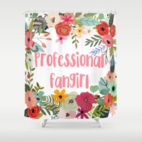 fangirl Shower Curtains featuring Professional Fangirl by Meleika
