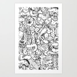 Alphabetcha Collage b&w Art Print