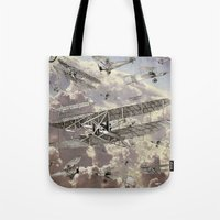 airplanes Tote Bags featuring airplanes 2 by Кaterina Кalinich