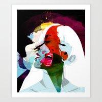 kiss Art Prints featuring Kiss by Alvaro Tapia Hidalgo