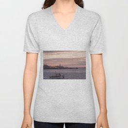 Ten pound Island Lighthouse sunset Unisex V-Neck