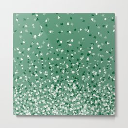 Floating Confetti Dots - Evergreen Metal Print