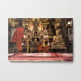 Monks at Work in the Temple V - Luang Prabang, Laos Metal Print