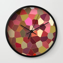 Red and Gold Festive Dazzle Stained Glass Abstract Wall Clock