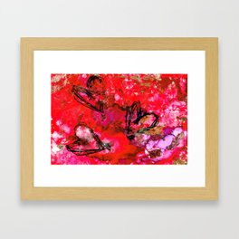 Black Hearts in Red & Gold Ink Framed Art Print