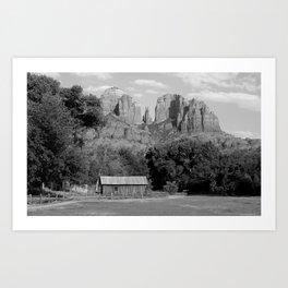 Red Rock B&W Art Print