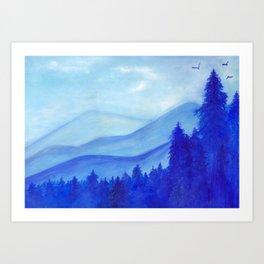 Blue mountains, pine trees, birds, original, painting, gouache, blue, white, wall décor, wall art Art Print