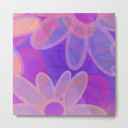 FIORI bright jumbo floral abstract in vivid pink purple blue Metal Print