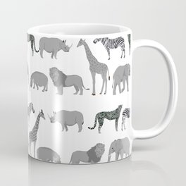 Safari animals minimal grey and white zebra giraffe cheetah hippo rhino nursery Coffee Mug
