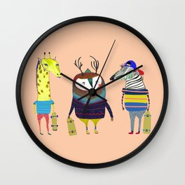 Skateboarding Animals by Ashley Percival Wall Clock