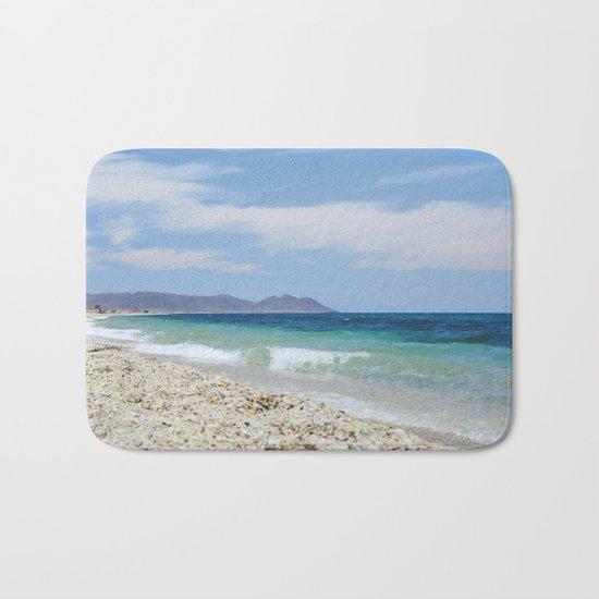 """""""Blue beach. Summer dreams"""" Bath Mat"""