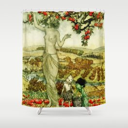 Dryad and Sprites picking apples Shower Curtain