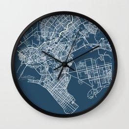 Karachi Blueprint Street Map, Karachi Colour Map Prints Wall Clock