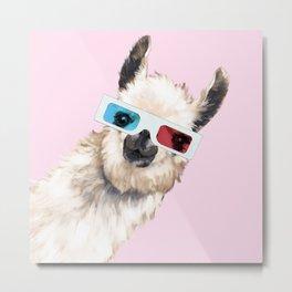 Sneaky Llama with 3D Glasses in Pink Metal Print