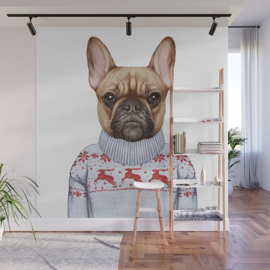 Animals as a human. French Bulldog in down vest and sweater. by victorianovak
