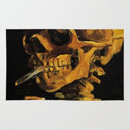 Van Gogh, Skull of a Skeleton with Burning Cigarette  – Van Gogh,Vincent Van Gogh,impressionist,post Rug