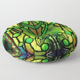 Green and Gold Stained Glass Victorian Design Floor Pillow