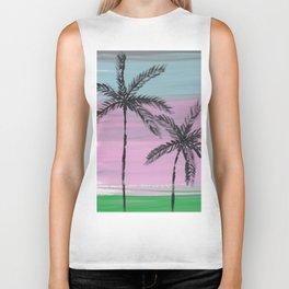 two palm trees sunset sky Biker Tank