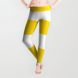 Sunshine Yellow and White Stripes Leggings