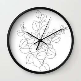 Minimalistic Eucalyptus  Line Art Wall Clock