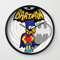 simpsons Wall Clocks featuring Bartman: the simpsons superheroes by logoloco