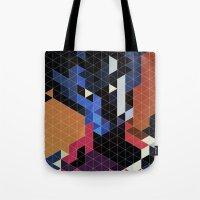 nightcrawler Tote Bags featuring Geometric Nightcrawler by Head Glitch