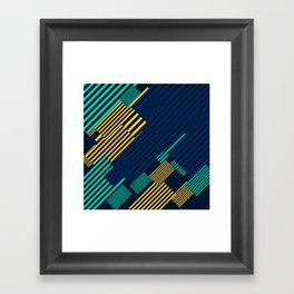 Green and Gold Linear Pattern Framed Art Print
