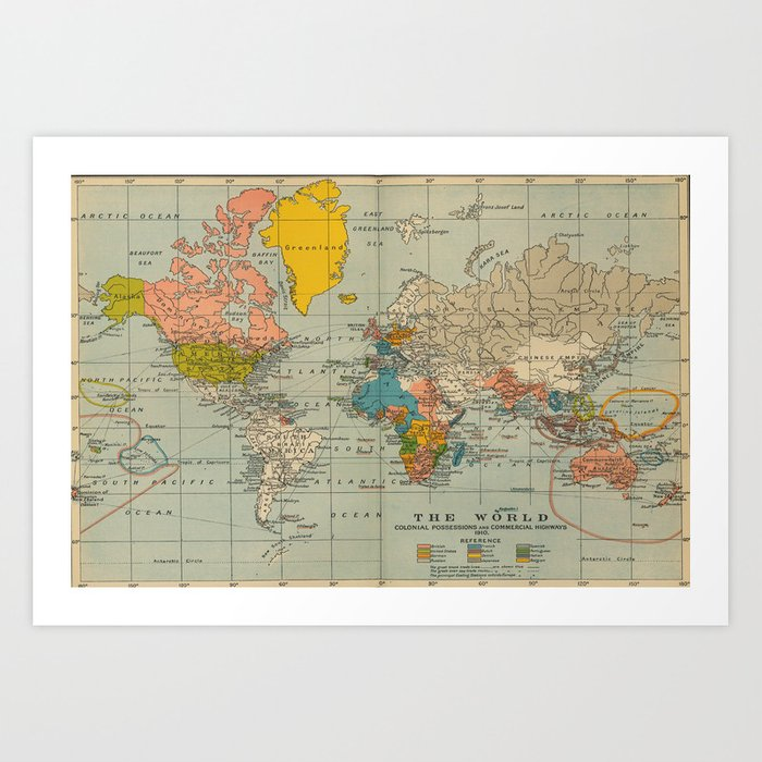 Vintage world map Kunstdrucke