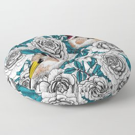 Rose flowers and goldfinch birds  Floor Pillow