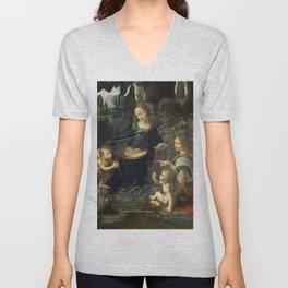 """Leonardo da Vinci """"The Virgin of the Rocks"""" (Louvre) Unisex V-Neck"""