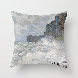 1883-Claude Monet-Rough weather at Étretat-65 x 81 Throw Pillow