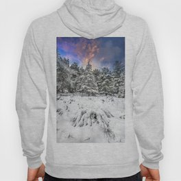 """Mountain Light IV"" Snowy Forest At Sunset Hoody"