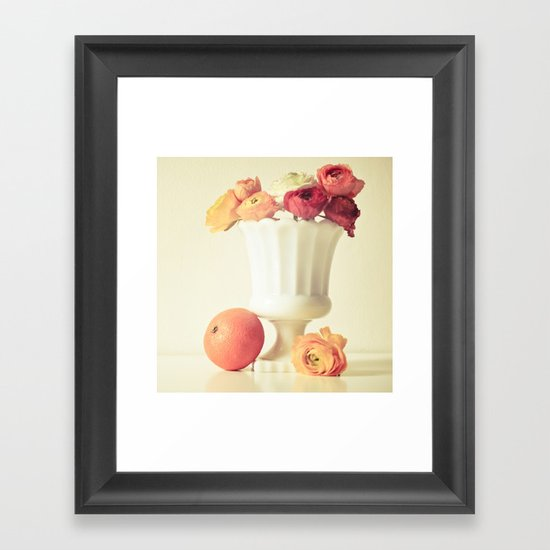 Milk Glass, Tangerine and Flowers Framed Art Print