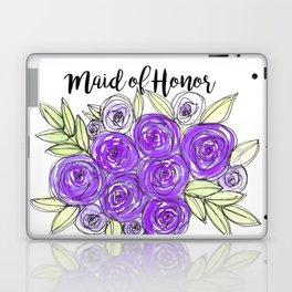 Maid Of Honor Wedding Bridal Purple Violet Lavender Roses Watercolor Laptop & iPad Skin